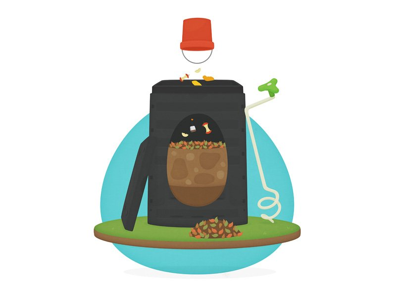 Image showing bucket of food scraps being thrown into compost